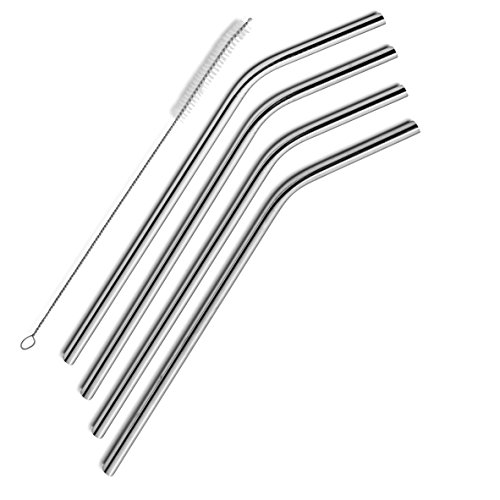 SipWell Extra Long Stainless Steel Drinking Straws Set of 4, Straws for 30 oz Tumbler and 20 0z Tumbler, Fits RTIC Tumbler | Fits all Yeti Ozark Trail SIC & RTIC Tumblers, Cleaning Brush Included