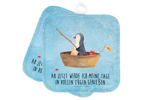 Mr. & Mrs. Panda Ofenhandschuh, Topflappen Set, 2er Set Topflappen Pinguin Angelboot mit Spruch - Farbe Eisblau