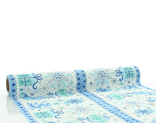 Vlag Home tafelloper Jolina in blauw | Linclass® Airlaid | tafelkleed Kerstmis geschenken tafelband | 40cm x 4,80m