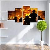 HOMEDCR Wandplakat 5 Panel Große Wand Leinwand Mutig Feuerwehrmann Silhouette Druck Wohnkultur Wohnzimmer Leinwand Malerei Wandkunst Bild
