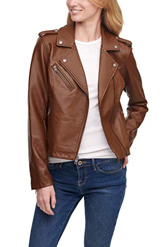 Levi's Women's Faux Leather Classic Asymmetrical Motorcycle Jacket (Standard & Plus Sizes), Dark Brown, Small