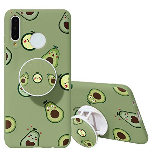 KAPUCTW Galaxy A30 / A20 Case with Stand Grip Holder Kickstand, Galaxy A30 / A20 Slim Silicone Shockproof TPU Back Cover with Cute Marble Flower Cartoon Design for Girls Women,Green Avocado