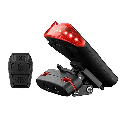 Montloxs Control Remoto inalámbrico Impermeable Lámpara Alarma Luz Trasera de Bicicleta Luz Trasera de Bicicleta Carga de la lámpara Luz de Advertencia Resalte Inteligente antirrobo