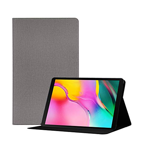 FAN SONG Funda para Samsung Galaxy Tab A 10.1 Pulgadas T510 T515 2019, Carcasa Folio con de PU Cuero Lona Delgada con Función de Soporte - Gris