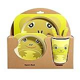 Ansemen Plato Divisor para bebés, vajilla de Fibra de bambú Juego de 5 Piezas Bol portátil para niños pequeños Frog