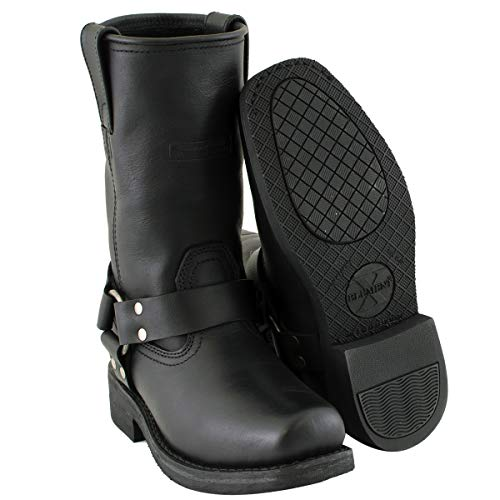 Xelement 2442 'Classic' Women's Black Full Grain Leather Harness Motorcycle Boots - 7