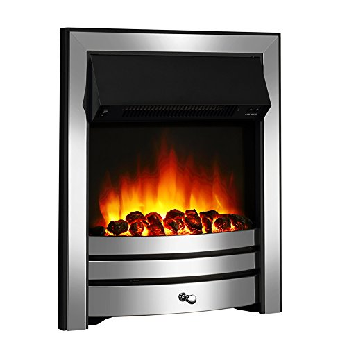 Endeavour Fires Roxby Inset Electric Fire, Chrome Trim and Fret, 220/240Vac 1&2kW, 7 day Programmable Remote control