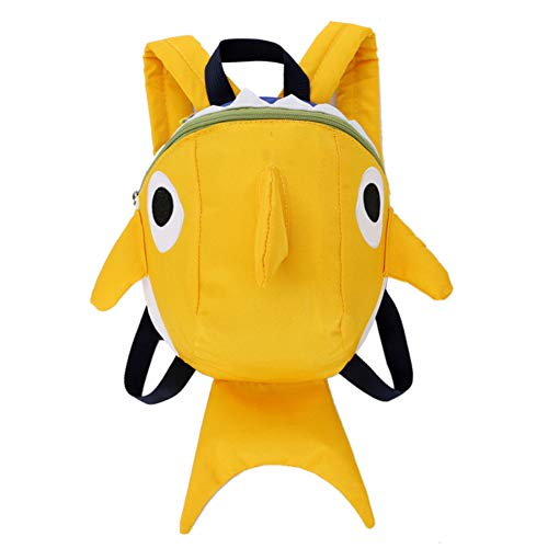 CAOLATOR Schultaschen Karikatur Hai Kinderrucksack Kindergarten Leinwand Kinder Rucksäcke Schultasche Kindergartenrucksack Tasche für Jungen Mädchen Kleinkind-Gelb