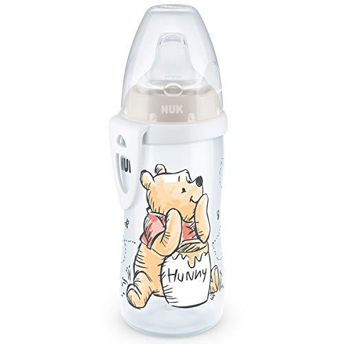 NUK Active Cup - Vaso para aprender a beber (12 meses, boquilla antigoteo, clip y tapa protectora, sin BPA, 300 ml), diseño de Winnie the Pooh de Disney, color blanco