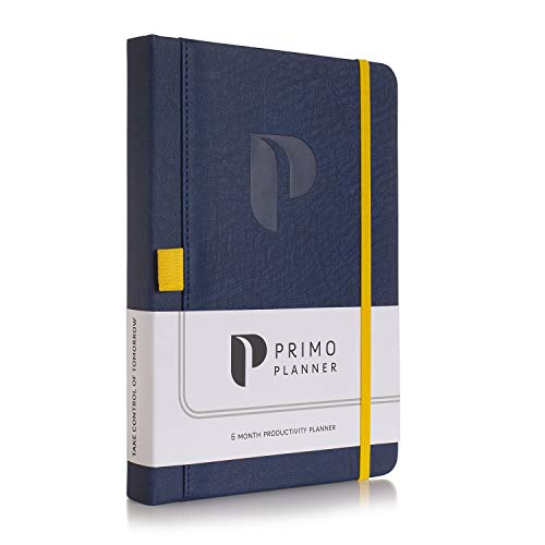 Primo Planner - Best Undated Daily Planner, Organizer, Calendar and Journal for Goal Setting, Increasing Productivity, Improving Time Management and Focus   2020-2021   Leather Hardcover (Navy, A5)