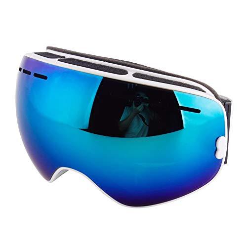 HSFX Snowboard Sneeuwschild, spiegel, anti-condens-skibril met UV-bescherming UV400-bescherming, antislip, dubbele lens, verwisselbaar, unisex