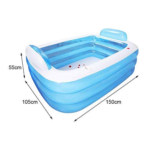 N/X Schwimmbad Kinder Erwachsene Aufstellpool Planschbecken Kinderpool Aufblasbar Klein Schwimmbecken Verdickter Aufblasbarer Pool Aufblasbarer 3-Ring-Pool Für Familienkinder Babys , Blau