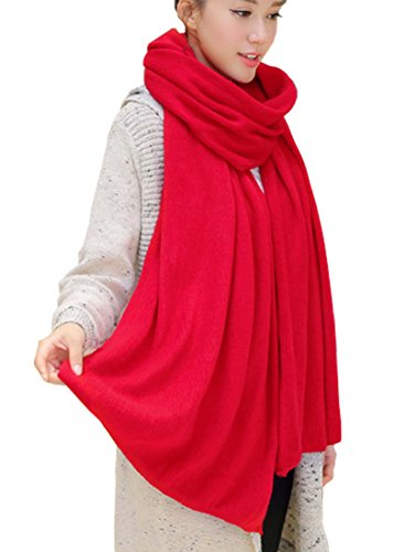 Wander Agio Womens Warm Long Shawl Winter Upset Large Scarf Pure Color Red