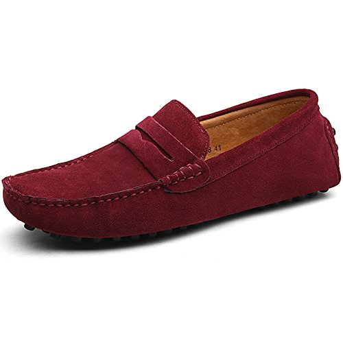 Jamron Herren Wildleder Penny Loafers Gemütlich Fahrende Schuhe Mokassin Slippers Rotwein 2088 UK12/EU47