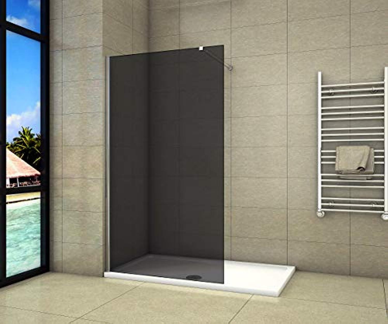 Aica Sanitr Duschwand Walk In Dusche 100cm Duschabtrennung 8mm NANO Graues Glas Duschtrennwand 200cm Hhe