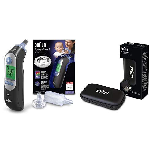Braun ThermoScan 7 Ear Thermometer with Age Precision - Black Edition Plus, Braun Protective Storage Case