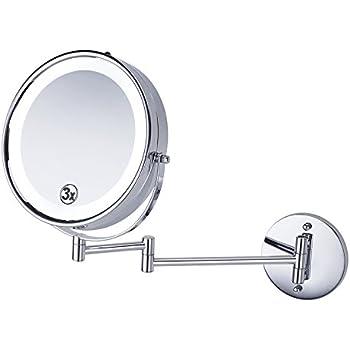 (セーディコ)Cerdeco 真実の両面鏡DX 壁付けミラー LEDライト付き 5倍拡大鏡+等倍 両面化粧鏡 伸縮可能 360度回転 メイク道具 洋式アームミラー 折りたたみホテルミラー 洗面所に取り付け J8522 鏡面φ220mm (Lサイズ・LEDライト・5倍拡大, シルバー)