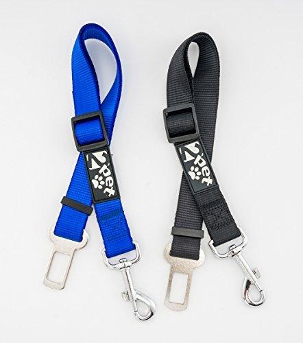 "2PET Dog Seatbelt Strap Adjustable Dog Seat Belt for All for All Dog Breeds & Sizes – Universal Dog Seat Belts Fit Seatbelt Latches of All Car Makes – 21"" to 32"" Dog Seatbelt - 2 Pack Blue-Black"