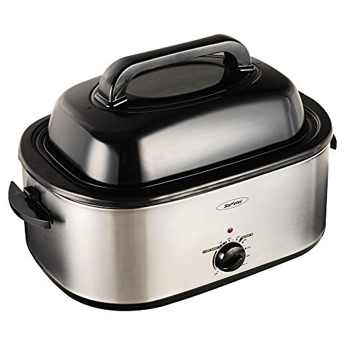 22 Quart Electric Roaster Oven, Roaster Oven, Turkey Roaster Electric, Electric Roaster, Selfbasting Lid, Removable Pan, Full-Range Temperature Control Cool-Touch Handles, Silver Body, Black Lid