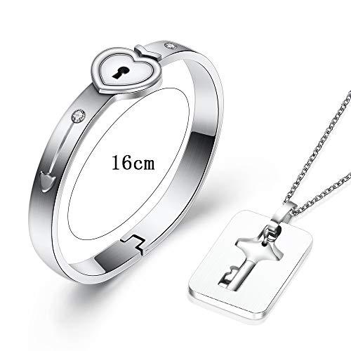 VQYSKO 2PCS Schmuckset Paar Damen Herren Edelstahl Armband mit Herzverschluss Halskette Schlüssel Set Frau Damen Geschenk mit Verpackungs Box (2PCS)