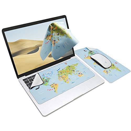 SenseAGE Tappetino per mouse 3-in-1, tappetino per mouse multifunzionale in microfibra per laptop, tappetino per tastiera lavabile, protezione e pulizia del monitor, Mappa Del Mondo Animale