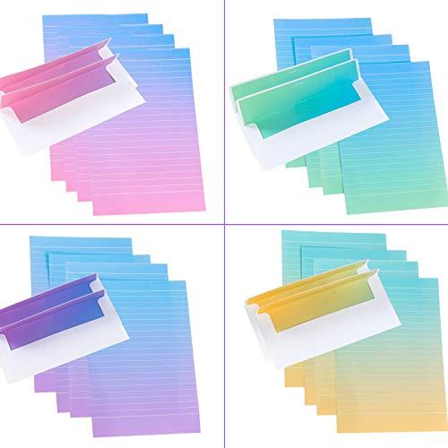 IHUIXINHE Schreibpapier Briefpapier Papier Briefbogen Set, Enthält 24 Umschläge und 48 Brief Papiere, 4 Schöne Verlaufsstile mit horizontalen Linien für Freunde, Liebhaber, Familie