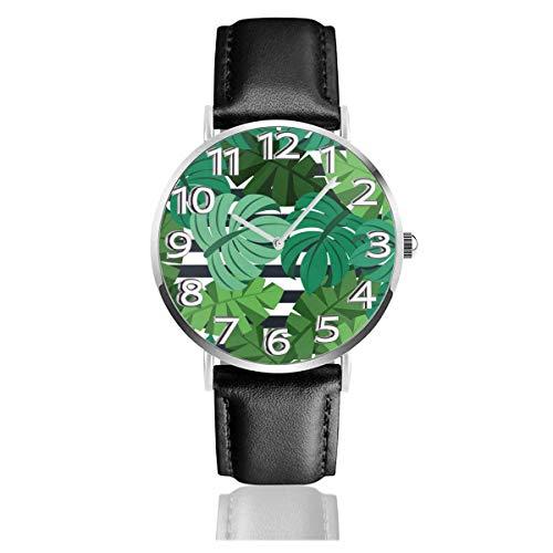 Reloj de Pulsera Hojas de Palma Floral Durable PU Correa de Cuero Relojes de Negocios de Cuarzo Reloj de Pulsera Informal Unisex