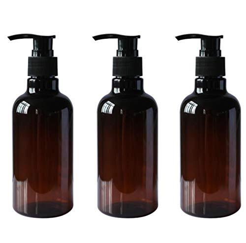 UPSTORE 3 x 250 ml braune nachfüllbare leere PET-Pump-Flaschen mit schwarzem Pumpdeckel, Kosmetik-Aufbewahrungsbehälter für Shampoo, Haarspülung, Duschgel, Toilettenartikel