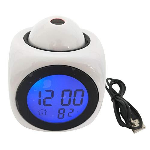 Heritan Reloj despertador digital con pantalla de temperatura, color blanco