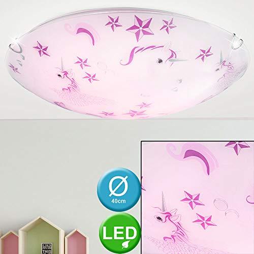 Einhorn Decken Lampe Mädchen Kinder Zimmer Glas Leuchte rosa weiß im Set inkl. LED Leuchtmittel