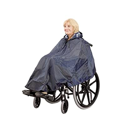 Homecraft Wheelchair Poncho, Windproof, Waterproof and Water resistant Hooded Poncho with Lining for Wheelchairs, Mobility and Electric Scooters