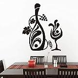 Diseño Creativo Botella Floral Copa De Vino Pegatinas De Pared Calcomanías De Pared De Vid Extraíbles Accesorios De Decoración Del Hogar Tamaño 44 * 52Cm