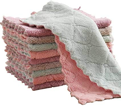 Paño de limpieza de microfibra, toallas de cocina, sin pelusas, altamente absorbentes, multiusos, suministros de limpieza para la cocina y el coche, paquete de 10 unidades, varios colores