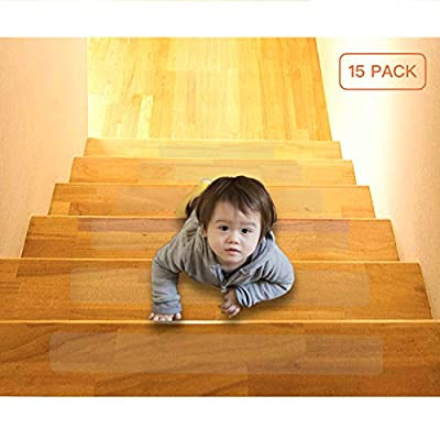 """15-Pack(4""""x 24""""),Non-Slip Clear Adhesive Stair Treads, Steady Treads,Translucent Safety Stair Traction Hardwood Treads,PVC-FREE Anti Slip Clear Adhesive Strips,Baby/Elder/Pet Safety,Indoor"""