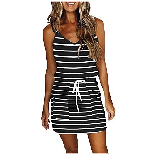 Vestido largo hasta la rodilla para mujer, vestido de verano, informal, sin mangas, cuello en V, a rayas, vestido de ocio, corto, sexy, vestido de verano, minivestido Negro3 S