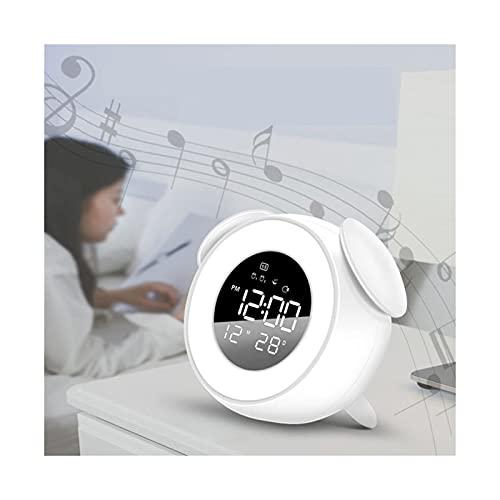 GDYJP Noche Reloj luz Digital led Musical Alarma mañana Amanecer Puesta de Sol Despierto Espejo Reloj Dormitorio Calendario Snooze Reloj (Color : B, Tamaño : One Size)
