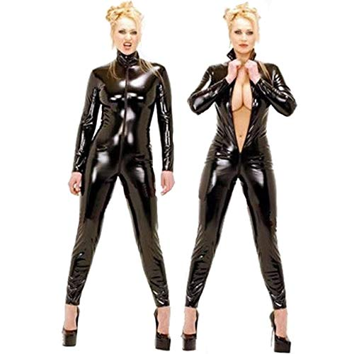 XSQR Sexy Damenbekleidung Leder-Overall Club Heiße Tanzkleidung DS Nachtclub Kragentanz Pole Dance Kunstleder Kostüm S-2XL,Black,S
