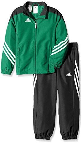 adidas Kinder Trainingsanzug Sereno 14,Top:Twilight_Green/Black/White Bottom:Black/White,152