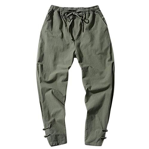Reooly Legging Corto de algodón y Lino con Botones Hombre(Armygreen,XXXXX-Large)