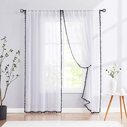 """Treatmentex Sheer White Curtains with Black Pom Pom Curtains 84"""" Long Linen Textured Look Decorative Window Drapes Navy 52"""" w 1Pair"""