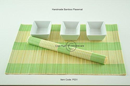 6 faite à la main en bambou Sets de table, sets de table, Lot de 6, light Green-cream, P031