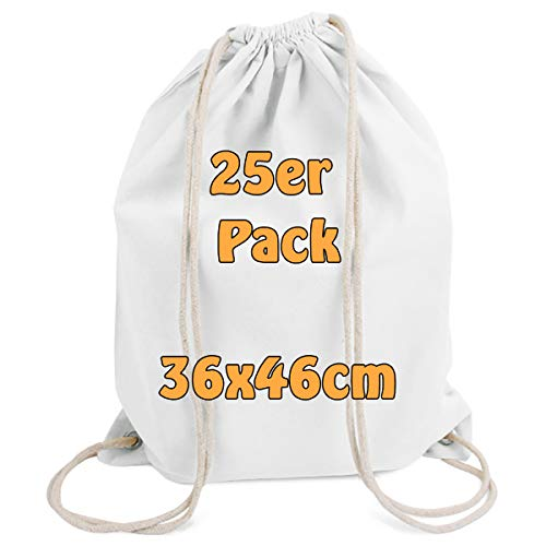 Cottonbagjoe moderner Turnbeutel | Baumwollrucksack | Beutel zum Bemalen | Stoffbeutel | Gym Bag | mit Kordelzug | Öko-Tex Zertifiziert | 36x46 cm | 10 Stück | Weiß