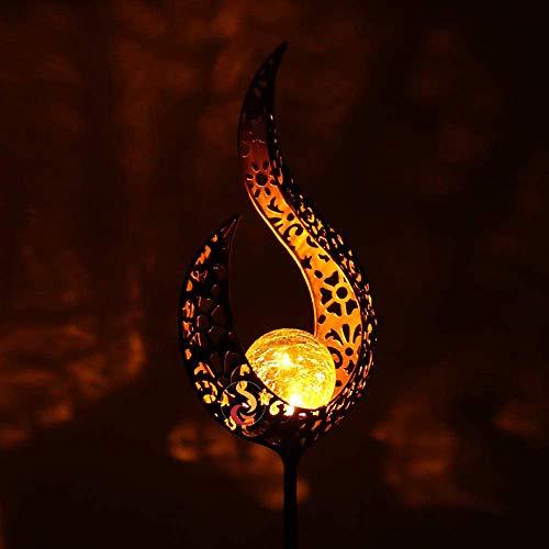 Gartenleuchte Solar Jiayida Metall Mond Gartenbeleuchtung LED Stake Lichter Solarleuchte Deko Garten Gartenlampe IP65 Wasserdicht Garten-Solarleuchten Freien für Terrasse Rasen Hinterhöfe(Magic wand)