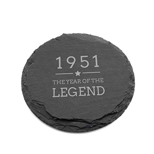 Engraved Slate Coaster -'1951 Year of The Legend' Design - 70th Birthday Gifts for Men Him - Natural...