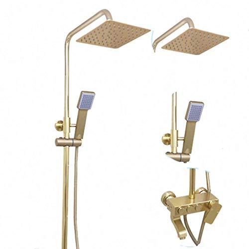 Grifo ducha Grifo de la ducha de lluvia de aluminio del espacio de baño Ducha Grifos mezclador con bidé caliente agua fría mezclador grifo Ducha (Color : Gold-B)