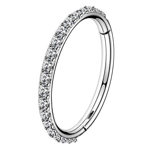 OUFER 16G Stainless Steel Cartilage Earring Hoop CZ Line Helix Earring Hoop Daith Earring Hoop 5/7/9/11mm