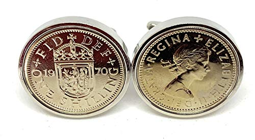 Premium 1970 Scottish Shilling coin for a 50th birthday gifts for men cufflinks Un-Circulated Coins 25mm