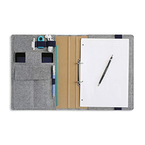HillSee - Dokumentenmappe A4 multifuctionale Schreibmappe Aktenmappe aus kunstleder und Filz Konferenzmappe für Herren, Stanzclips - Seeblau