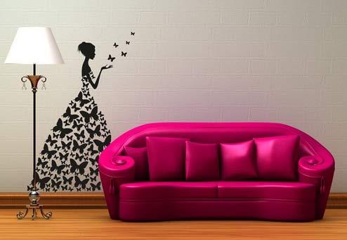 Zdklfm69 Pegatinas de Pared Adhesivos Pared Creativo Vestido de Mariposa Hermosa Chica Vinilo de Pared calcomanías artísticas decoración de habitación de niñas 115x76cm