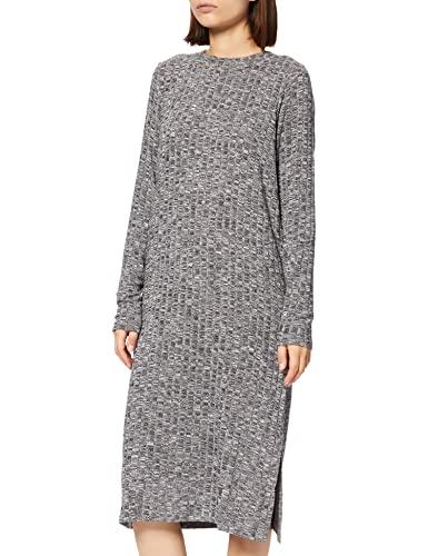 VERO MODA Damen VMNILLE LS O-Neck Long Slit Dress Kleid, Birch/Detail:W Black, M